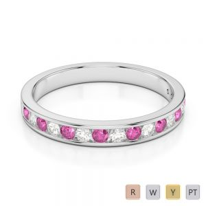 3 MM Gold / Platinum Round Cut Pink Sapphire and Diamond Half Eternity Ring AGDR-1090