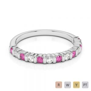 2 MM Gold / Platinum Round Cut Pink Sapphire and Diamond Half Eternity Ring AGDR-1095