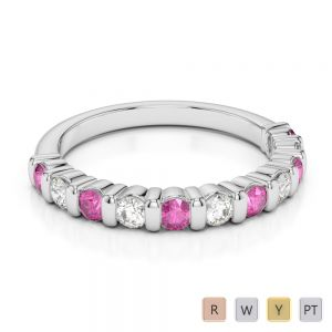 2.5 MM Gold / Platinum Round Cut Pink Sapphire and Diamond Half Eternity Ring AGDR-1096
