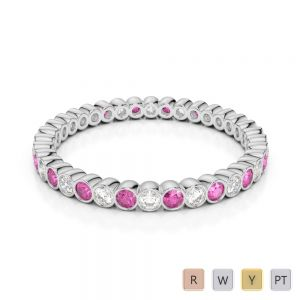 2 MM Gold / Platinum Round Cut Pink Sapphire and Diamond Full Eternity Ring AGDR-1098