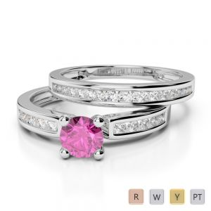 Gold / Platinum Round cut Pink Sapphire and Diamond Bridal Set Ring AGDR-1157