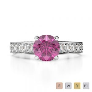 Gold / Platinum Round Cut Pink Sapphire and Diamond Engagement Ring AGDR-1202