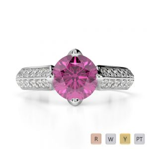 Gold / Platinum Round Cut Pink Sapphire and Diamond Engagement Ring AGDR-1205