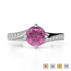 Gold / Platinum Round Cut Pink Sapphire and Diamond Engagement Ring AGDR-1207