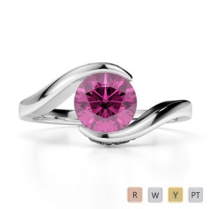 Gold / Platinum Round Cut Pink Sapphire and Diamond Engagement Ring AGDR-1209