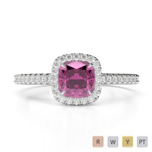 Gold / Platinum Round and Cushion Cut Pink Sapphire and Diamond Engagement Ring AGDR-1212