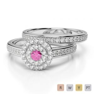 Gold / Platinum Round cut Pink Sapphire and Diamond Bridal Set Ring AGDR-1239