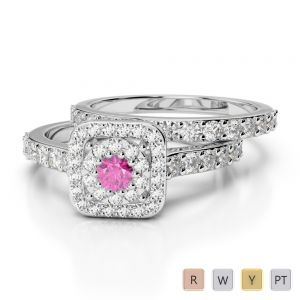 Gold / Platinum Round cut Pink Sapphire and Diamond Bridal Set Ring AGDR-1246