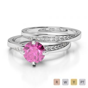 Gold / Platinum Round cut Pink Sapphire and Diamond Bridal Set Ring AGDR-2001