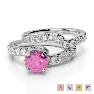 Gold / Platinum Round cut Pink Sapphire and Diamond Bridal Set Ring AGDR-2003