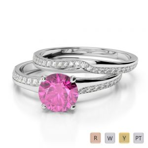 Gold / Platinum Round cut Pink Sapphire and Diamond Bridal Set Ring AGDR-2015