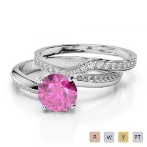 Gold / Platinum Round cut Pink Sapphire and Diamond Bridal Set Ring AGDR-2017