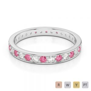 Gold / Platinum Round Cut Pink Tourmaline and Diamond Full Eternity Ring AGDR-1079