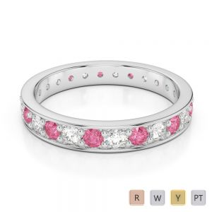 3 MM Gold / Platinum Round Cut Pink Tourmaline and Diamond Full Eternity Ring AGDR-1080