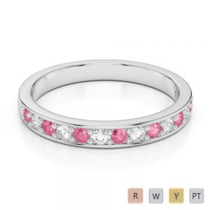 Gold / Platinum Round Cut Pink Tourmaline and Diamond Half Eternity Ring AGDR-1083