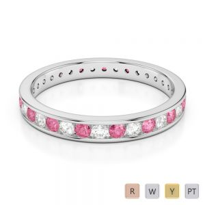 Gold / Platinum Round Cut Pink Tourmaline and Diamond Full Eternity Ring AGDR-1087