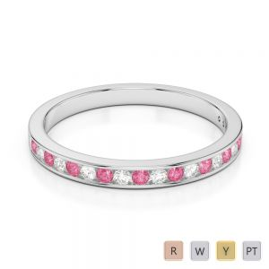 Gold / Platinum Round Cut Pink Tourmaline and Diamond Half Eternity Ring AGDR-1089