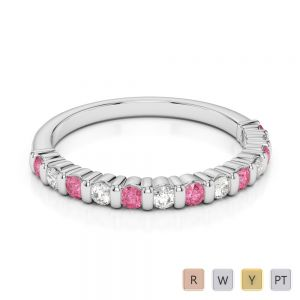 Gold / Platinum Round Cut Pink Tourmaline and Diamond Half Eternity Ring AGDR-1095