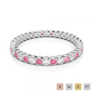 Gold / Platinum Round Cut Pink Tourmaline and Diamond Full Eternity Ring AGDR-1098