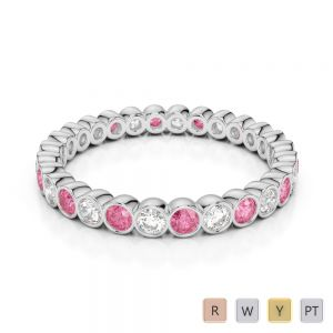 2.5 MM Gold / Platinum Round Cut Pink Tourmaline and Diamond Full Eternity Ring AGDR-1099