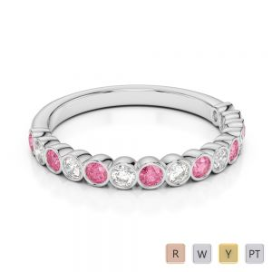 2.5 MM Gold / Platinum Round Cut Pink Tourmaline and Diamond Half Eternity Ring AGDR-1102