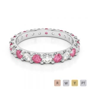 2.5 MM Gold / Platinum Round Cut Pink Tourmaline and Diamond Full Eternity Ring AGDR-1105