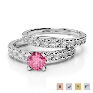 Gold / Platinum Round cut Pink Tourmaline and Diamond Bridal Set Ring AGDR-1144
