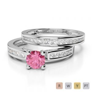Gold / Platinum Round cut Pink Tourmaline and Diamond Bridal Set Ring AGDR-1157