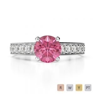 Gold / Platinum Round Cut Pink Tourmaline and Diamond Engagement Ring AGDR-1202
