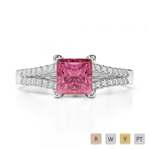 Gold / Platinum Round and Princess Cut Pink Tourmaline and Diamond Engagement Ring AGDR-1211