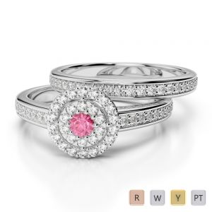 Gold / Platinum Round cut Pink Tourmaline and Diamond Bridal Set Ring AGDR-1239