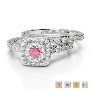 Gold / Platinum Round cut Pink Tourmaline and Diamond Bridal Set Ring AGDR-1246