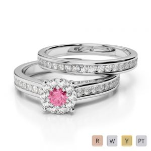 Gold / Platinum Round cut Pink Tourmaline and Diamond Bridal Set Ring AGDR-1339