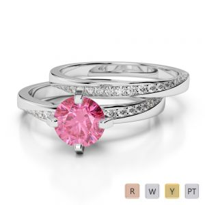 Gold / Platinum Round cut Pink Tourmaline and Diamond Bridal Set Ring AGDR-2001