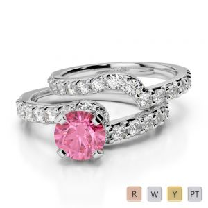 Gold / Platinum Round cut Pink Tourmaline and Diamond Bridal Set Ring AGDR-2003