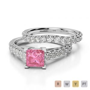 Gold / Platinum Round and Princess cut Pink Tourmaline and Diamond Bridal Set Ring AGDR-2007