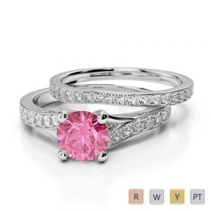 Gold / Platinum Round cut Pink Tourmaline and Diamond Bridal Set Ring AGDR-2011