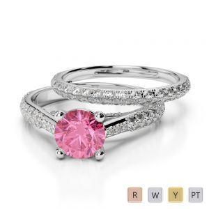 Gold / Platinum Round cut Pink Tourmaline and Diamond Bridal Set Ring AGDR-2013