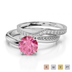 Gold / Platinum Round cut Pink Tourmaline and Diamond Bridal Set Ring AGDR-2017