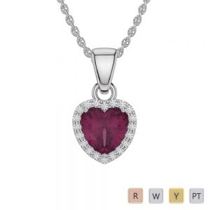 Gold / Platinum Heart Ruby Pendant Set AGPS-1064