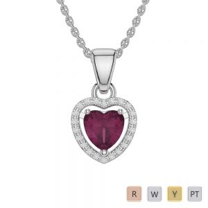 Gold / Platinum Heart Ruby Pendant Set AGPS-1066