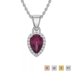 Gold / Platinum Pear Ruby Pendant Set AGPS-1074