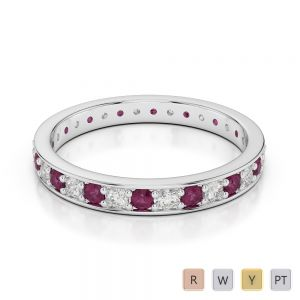 2.5 MM Gold / Platinum Round Cut Ruby and Diamond Full Eternity Ring AGDR-1079