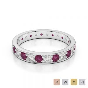 3 MM Gold / Platinum Round Cut Ruby and Diamond Full Eternity Ring AGDR-1080