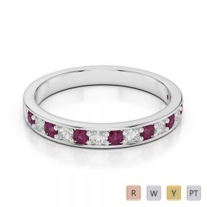 2.5 MM Gold / Platinum Round Cut Ruby and Diamond Half Eternity Ring AGDR-1083