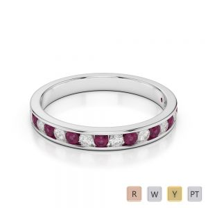 3 MM Gold / Platinum Round Cut Ruby and Diamond Half Eternity Ring AGDR-1090