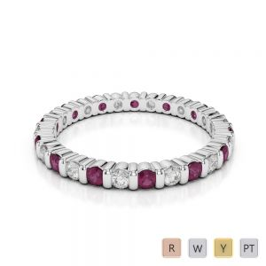 2 MM Gold / Platinum Round Cut Ruby and Diamond Full Eternity Ring AGDR-1092