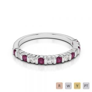 2 MM Gold / Platinum Round Cut Ruby and Diamond Half Eternity Ring AGDR-1095