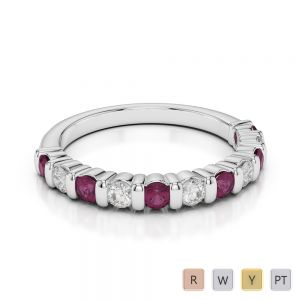 Gold / Platinum Round Cut Ruby and Diamond Half Eternity Ring AGDR-1096
