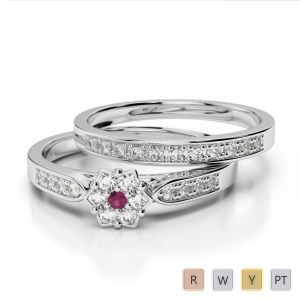 Gold / Platinum Round cut Ruby and Diamond Bridal Set Ring AGDR-1051